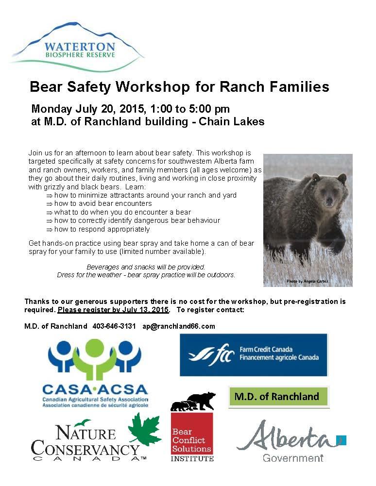 Bear Safety Workshop July 20, 2015